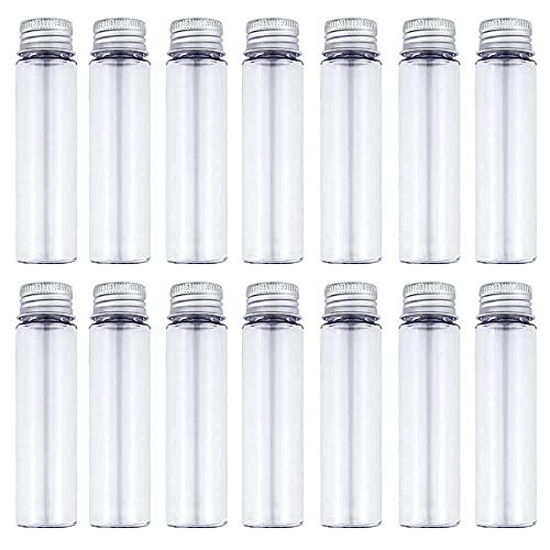 DEPEPE 30pcs 50ml Clear Flat Plastic Test Tubes with Screw Caps