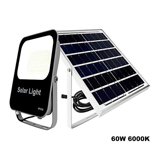 POPP®Foco Solar Exterior,lluminacion Solar,60W LED 6000K IP65 Impermeable,Lampara Solar para Jardin,Garaje,Acera,Escalera,Patio,Terraza[Clase de eficiencia energética A+++] (60 Watios)