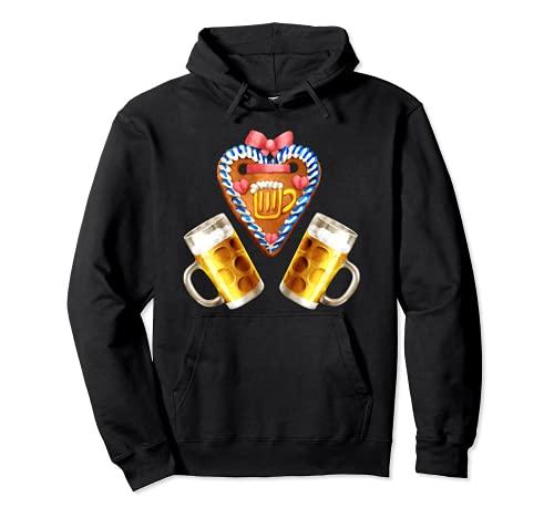 Divertido traje de Oktoberfest con decoración de corazón de jengibre y cerveza Sudadera con Capucha
