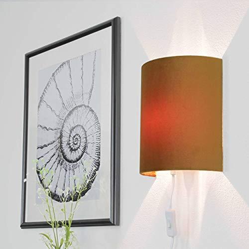 Moderne Wandleuchte mit Kabel für Steckdose Samt Schirm Wandlampe Ocker Flur Wohnzimmer