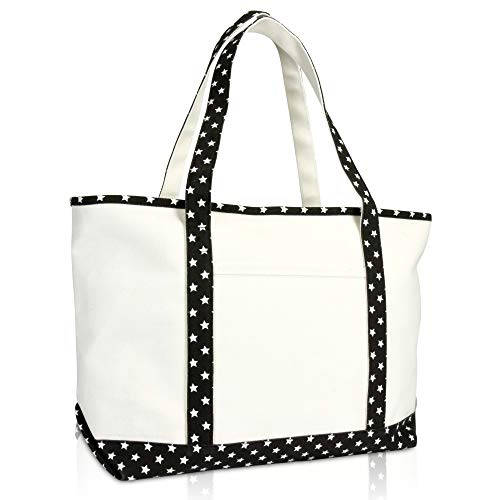 DALIX 23' Premium 24 oz. Cotton Canvas Shopping Tote Black Star