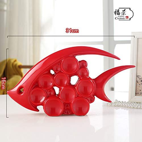 KOONNG Moderne décoration Maison créative Salon Armoire à vin TV Armoire décoration céramique Artisanat Cadeau de Mariage, Une Section Bouche Poisson Rouge