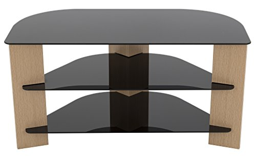 "AVF FS900VAROB-A Varano Corner TV Stand, For Most TVs up to 42"". Oak and Black Glass"