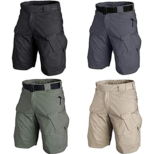 2021 Upgraded Waterproof Tactical Shorts for Men - Belted Cargo Short for Hiking, Camping, Travel (Green,XX-Large)