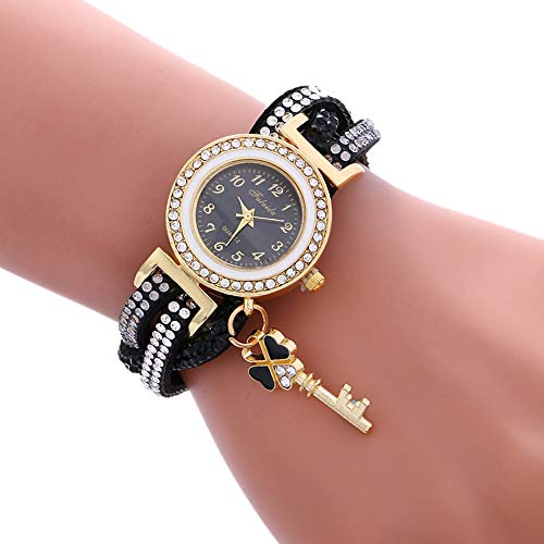 JINYANG Regardez 3 PCS Ladies Padlock Bracelet Multicolor Quartz avec Diamond (Blanc) (Color : Black)