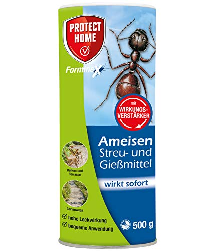 PROTECT HOME Forminex Ameisen Gießmittel mit Sofortwirkung gegen Ameisenstraßen und Nester, zum Streuen, Gießen und Spritzen, 500g, Streudose