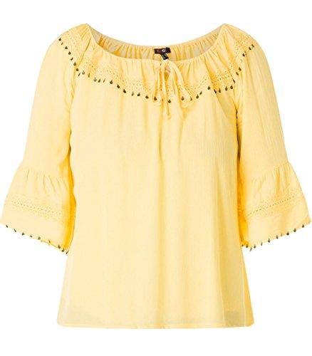 X-Two Yesta Oversize Carmen-Bluse mit 3/4 Trompetenärmel große Größen Gelb Damen, Größe:48