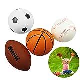 FunPa 4 pièces balles de sport rugby basket-ball football tennis balles en caoutchouc mini-balle ensemble