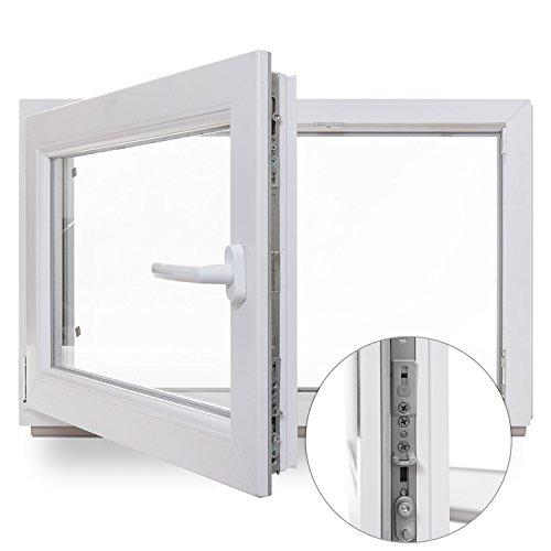 Kellerfenster - Kunststoff - Fenster - weiß - BxH: 80x50 cm - DIN rechts - Sicherheitsbeschlag - verschiedene Maße