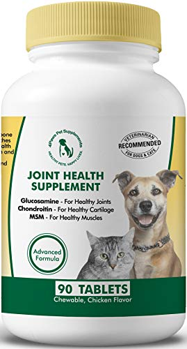 Glucosamine Chondroitin MSM for Dogs and Cats. Hip and Joint Supplements to Support Bone Health. Natural Anti Inflammatory for Arthritis Pain Relief for Large, Medium, Small, Senior Pets. 90 Tabs