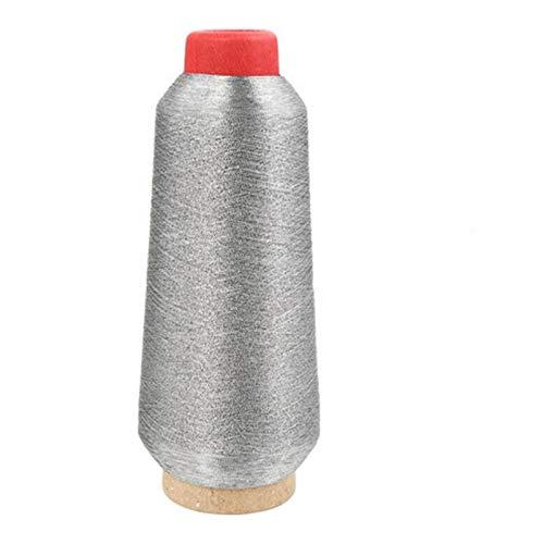 NGHSDO Hilos Punto De Cruz Coloridas Hilos de Bordado de Puntada de Costura Línea de Hilo de Coser Durable Overlock Textil Hilado metálico Línea Tejida 1 (Color : Silver)