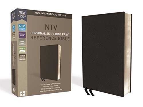 NIV, Personal Size Reference Bible, Large Print, Premium Leather, Calfskin, Black, Red Letter, Comfort Print