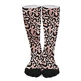Calcetines deportivos unisex novedad alta comodidad transpirable atlético casual largo tubo medias - rosa y negro leopardo imprimir decoupage