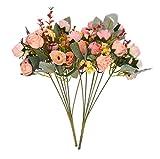 Hexint 2 paquetes de flores artificiales de seda artificial, arreglo de rosas realistas con 21 cabezas para decoración de mesa de boda, hogar, mesa de boda, decoración floral (rosa)