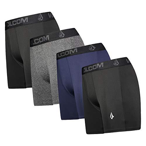Volcom Mens Boxer Briefs 4 Pack Poly Spandex Performance Boxer Briefs Underwear (Black/Blue/Grey/Black, Large)