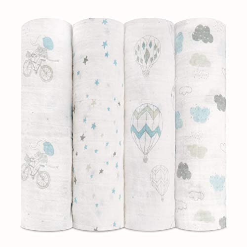 aden + anais Swaddle Blanket   Boutique Muslin Blankets for Girls & Boys   Baby Receiving Swaddles   Ideal Newborn & Infant Swaddling Set   Perfect Shower Gifts, 4 Pack, Night Sky