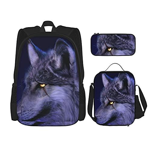 Blauwe Wolf Print Rugzak Voor Jongens Tieners Bookbag Reizen Dagrugzak, Lunch Bag En Potlood Case Combinatie