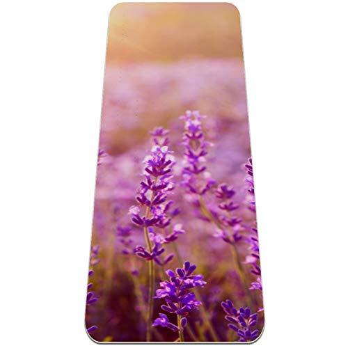 BestIdeas Esterilla de yoga con planta de flores de lavanda para yoga, pilates, ejercicio de suelo para hombres, mujeres, niñas, niños, principiantes, diseño antideslizante