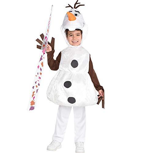 Party City Olaf disfraz de Halloween para niños, Frozen 2, incluye tocado y varita, 3-4T, Multicolor
