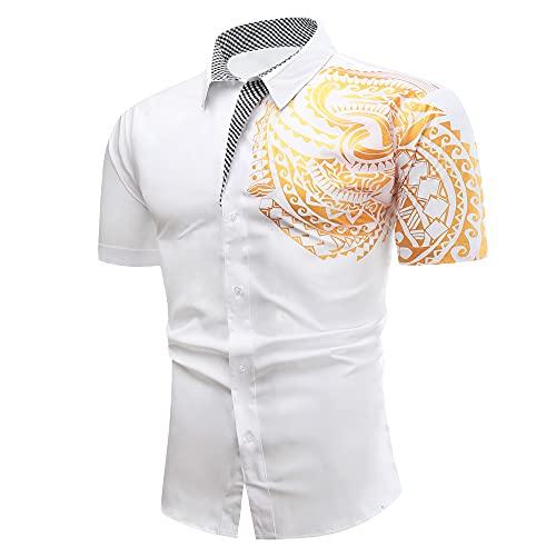 Camisa Hombre Verano Ajustado Hombre Moderno Henley Camisa Personalidad Estampado Hombre Manga Corta Tradicional Camisa Urbanos Creativos Negocios Casuales Camisa B-White XL