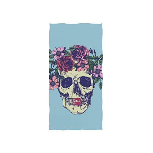 LREFON Toallas Esqueleto de cráneo Humano en Corona de Flores Florales en Azul para la Ducha,Toallas de baño,Deportes al Aire Libre