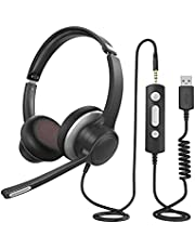 PC Headset with Microphone, 3.5mm USB Computer Headset with Noise Canceling Microphone, Inline Control, Clear Sound, Business Office Headset with Comfort Fit Earpad for Skype Mobilephone Call Center