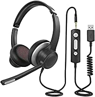 PC Headset with Microphone, 3.5mm USB Computer Headset with Noise Canceling Microphone, Inline Control, Clear Sound,...