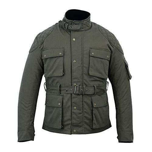 Chaqueta de moto encerada de algodón para hombre, con forro impermeable y forro para motociclista, abrigo de invierno para hombre | Montar (color verde militar, XL)