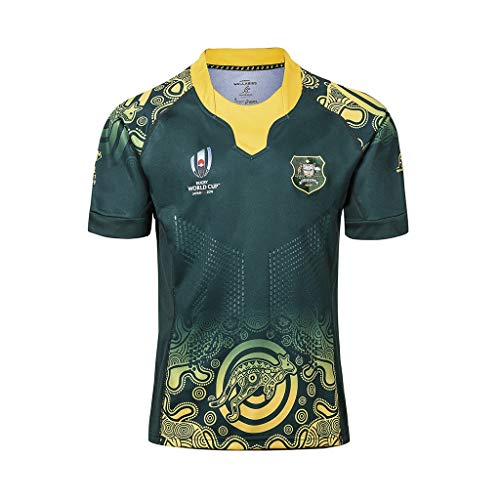 Haoyue Fan Trikot 2019 Japan Rugby World Cup Australien Supporters Heim- Und Auswärts Kurzärmeliges T-Shirt Quick Dry Absorbent Breathable Sport (Color : Australia Away, Size : XXXL)