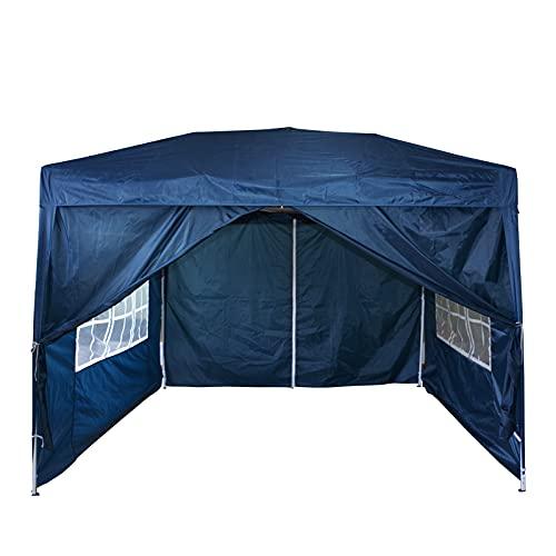 Mondeer 3x3m Faltpavillon, Pavillon mit 4 Seitentüchern, Pop up Zelt im Freien, UV-Schutz, Faltbar Garten Pavillon, Wasserdicht Gartenzelt, für Partys, Camping, Hochzeiten, Festival, Blau