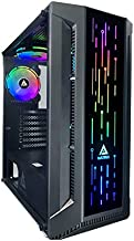 Apevia Matrix-BK Mid Tower Gaming Case with 1 x Tempered Glass Panel, Top USB3.0/USB2.0/Audio Ports, 4 x RGB Fans, Black Frame