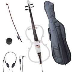 Hand-carved solid maple wood electric cello, Style 1, Pearl White, Size 4/4 (Full Size) Ebony fingerboard, pegs and tailpiece with mother of pearl inlay and 4 detachable fine tuners Powered by a 9V Alkaline battery (included) Includes: well padded li...