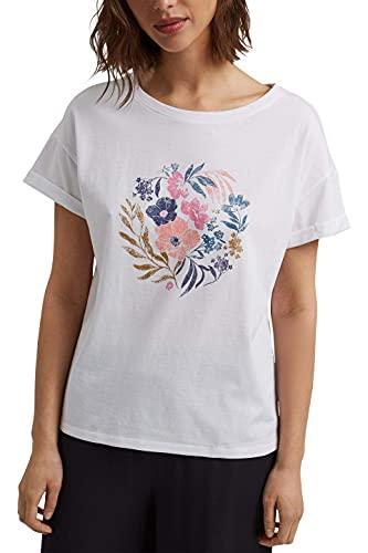 ESPRIT Damen 051EE1K325 T-Shirt, 100/WHITE, M