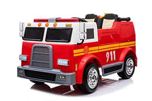 Kraftz Realistic 12v Ride On Fire Truck, MP3, Leather Seats.