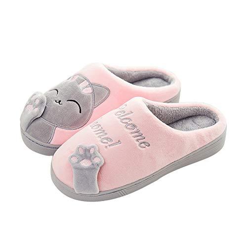 JXILY Cómodas Suave Slippers Zapatillas De Casa De Mujer Antideslizante Cálido Zapatos Invierno Hombre Pantuflas,Light Pink,36/37 EU