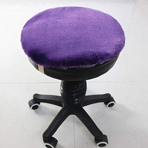 N / A Lefran Thicken Plush Chair Cushion,Not-slip Student Round Stool Cushion Cover,WARM Wool Seat Cushions With Elastic Bands Washable Red Diameter35cm(14inch),Purple,diameter50cm(20inch)