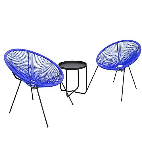 DlandHome Ensemble de Meubles de Jardin Design Rétro 3 Pièces pour Salon Jardin 2 Chaises en polyéthylène avec Une Table d'appoint, pour Intérieur/Extérieur, Bleu