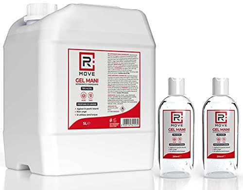 RMOVE gel igienizzante mani 5 litri +2 flaconi da 200ml in OMAGGIO 70% ALCOL gel mani profumato al limone arricchito con olii essenziali di Aloe e Timo tanica 5 litri