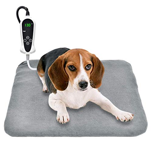 "RIOGOO Pet Heating Pad, Upgraded Electric Dog Cat Heating Pad Indoor Waterproof, Auto Power Off (M: 18""x 18"")"