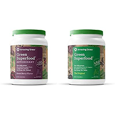 Amazing Grass Green Superfood Antioxidant: Organic Plant Based Antioxidant and Wheat Grass Powder for Full Body Recovery, 8 Servings of Fruits and Veggies per Scoop