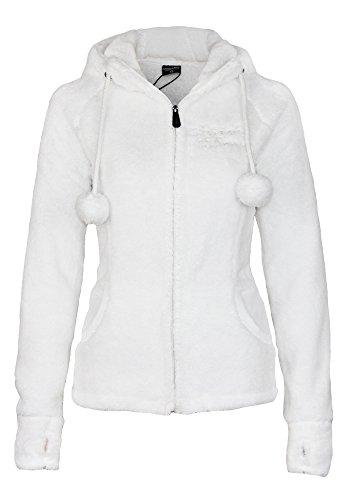 Stitch & Soul Damen Teddy Fleecejacke mit Kapuze und Öhrchen | Warme Flauschjacke mit hohem Kragen, Größe:XS, Farbe:White