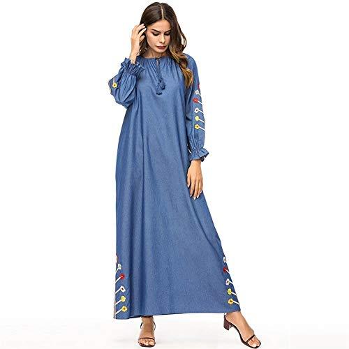 Rcsinway Dames herfst en winter nieuwe jurk Simple mode denim geborduurde jurk met lange mouwen gewaden losse kleding (Color : Blue, Size : L)
