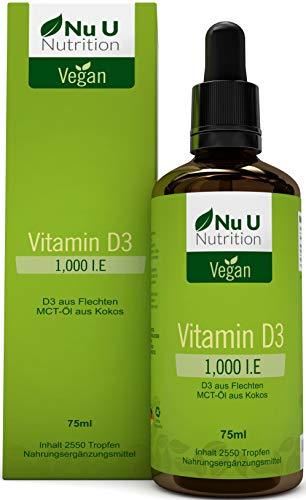 Vitamin D3 1000 IE 75ml = 2550 Tropfen | Für Vegetarier und Veganer geeignet | Hoch bioverfügbare...