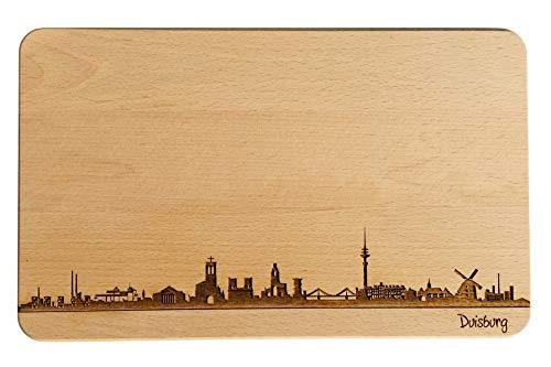 Brotzeitbrett Duisburg Skyline | Frühstücksbrettchen aus Buche | Holz Schneidbrett | Geschenk mit Gravur | Frühstücksbrett | Nordrhein-Westfalen (Standard (22x14x1cm), 1. ohne persönlicher Gravur)