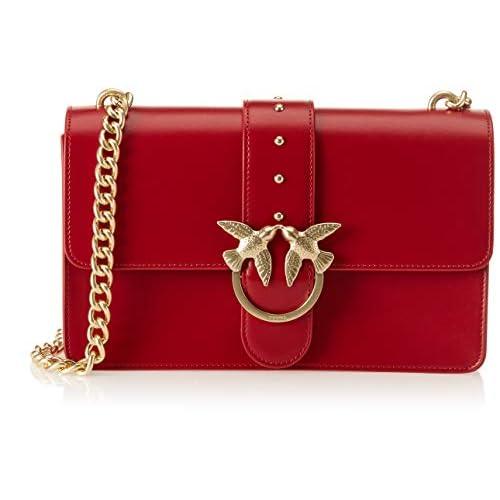 Pinko Love Simply 5 Tracolla Vitello Seta, Borsa a spalla Donna, (Rosso Jolly), 9x17x28 cm (W x H x L)