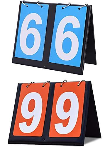 Laufunjoy 2 Piezas Marcador Deportivo, Marcador de Puntuación Flip Marcador Portátil 2 dígitos Marcador para Voleibol, Baloncesto, Tenis de Mesa, multideportes Competición Deportiva