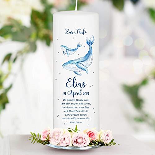 Taufkerze Blauer Wal mit Wunschdaten - Kerze zur Taufe, Geburt oder Kommunion - 25 x 8 cm/mit Taufspruch wie abgebildet/Junge