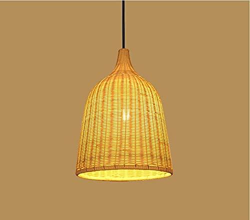 Coding Lámpara colgante de bambú tejida, bambú natural, ratán, hecha a mano, creativa, altura regulable, para restaurante, pasillo, dormitorio