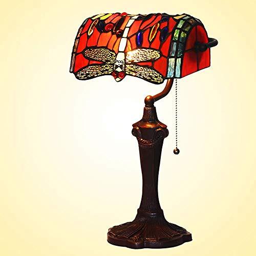 DIMPLEY Lámpara de la lámpara de la lámpara de la lámpara de libélula roja de 10 Pulgadas Tiffany