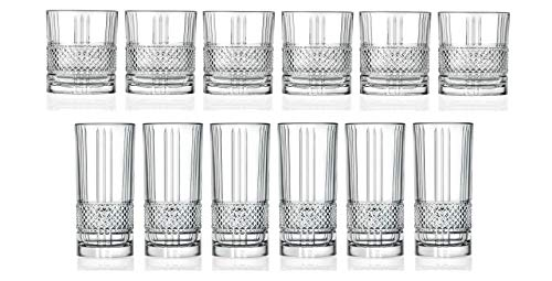 RCR Cristalleria Italiana Trinkgeschirr-Set aus Kristallglas DOF Whiskey (11,4 oz) & Highball Tumbler (312 oz) – 12 Stück